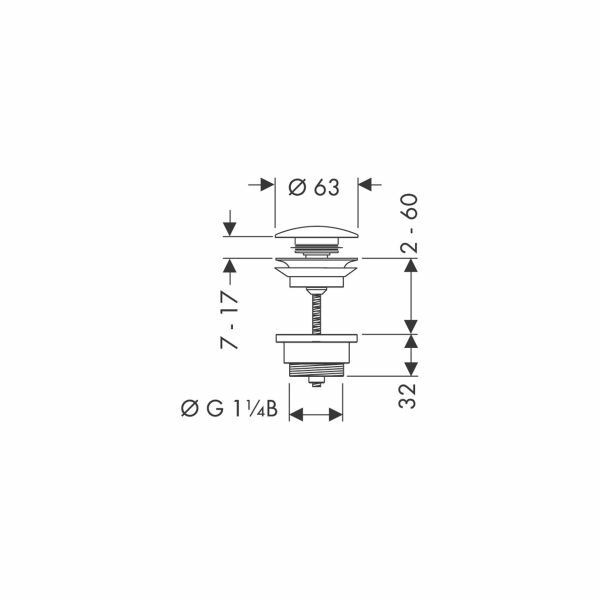 hansgrohe ablaufventil push open dn32 insani24 badshop. Black Bedroom Furniture Sets. Home Design Ideas