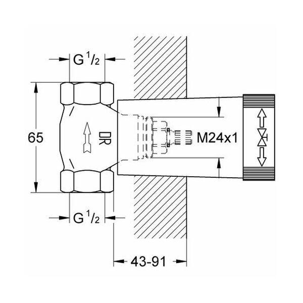 grohe up ventil unterteil 29032 dn 15 insani24 badshop. Black Bedroom Furniture Sets. Home Design Ideas