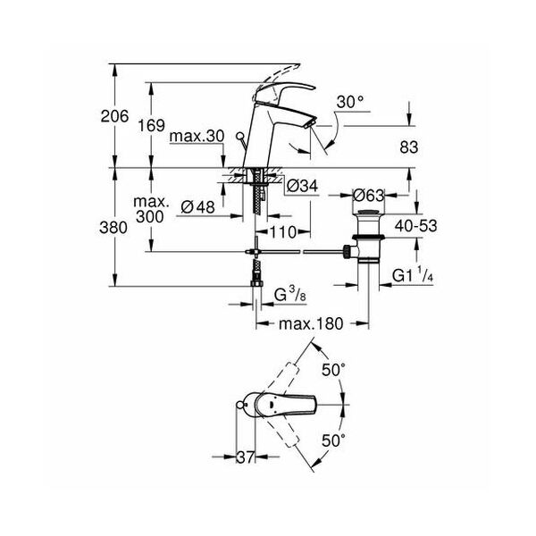 grohe eurosmart waschtisch armatur 23322 mittelhoch chrom insani24. Black Bedroom Furniture Sets. Home Design Ideas