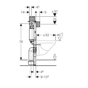 Geberit Duofix WC-Element 82 cm mit Omega-Spülkasten - insani24 Badsh