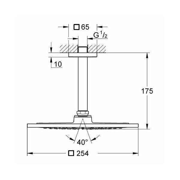 grohe rainshower f series 10 kopfbrauseset deckenauslass 142 mm i. Black Bedroom Furniture Sets. Home Design Ideas