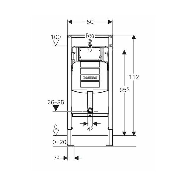 Geberit Duofix Element für Stand-WC, 112 cm, mit Sigma UP-Spülkasten