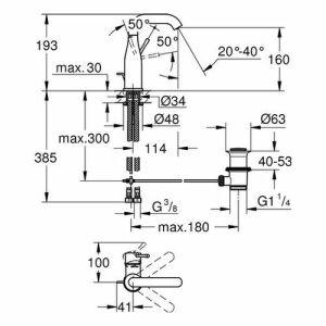 Grohe Essence Einhand-Waschtischbatterie, DN 15 M-Size, Soft Graphite