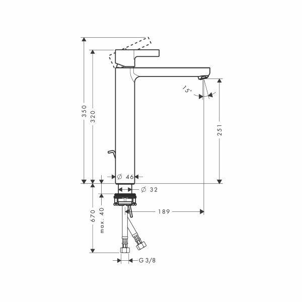hansgrohe metris s waschtisch armatur f r waschsch sseln. Black Bedroom Furniture Sets. Home Design Ideas