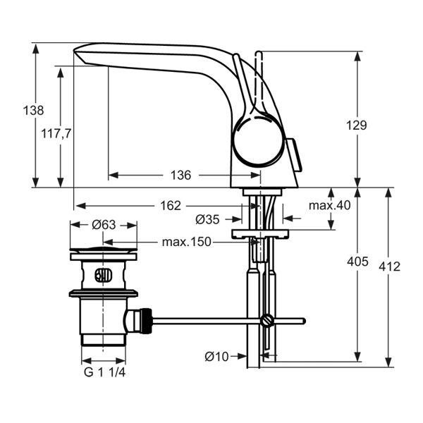 ideal standard melange waschtisch armatur ausladung 136 mm. Black Bedroom Furniture Sets. Home Design Ideas