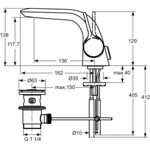 Ideal Standard Melange Waschtisch Armatur Ausladung 136 Mm Chrom I
