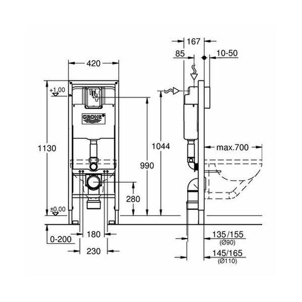 grohe rapid sl f r wc 1 13 m behindertengerecht insani24 bath shop. Black Bedroom Furniture Sets. Home Design Ideas